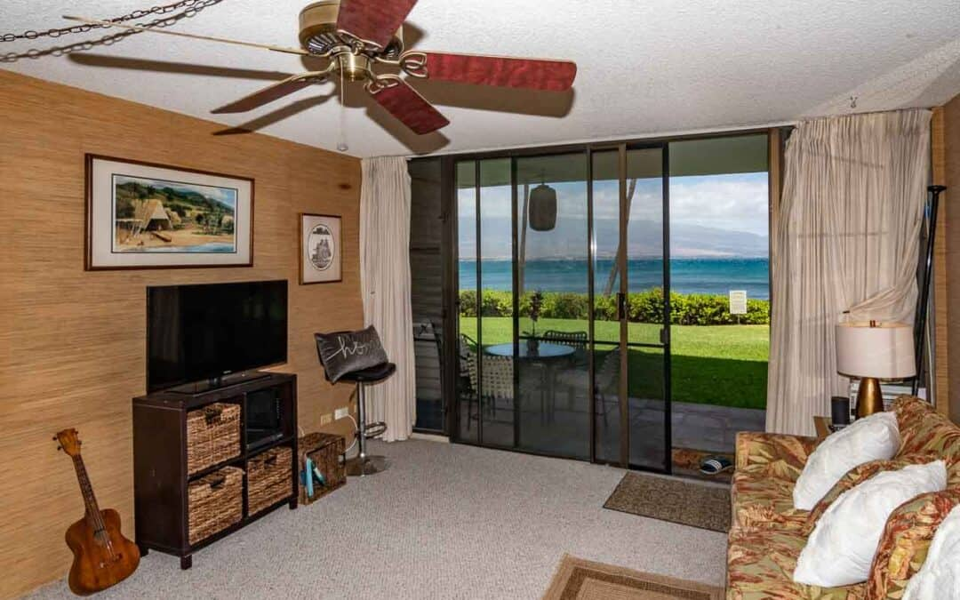 Just Listed! Maalaea Banyans #117 – Ground floor oceanfront, ocean view 1 BR/1 BA vacation rentable